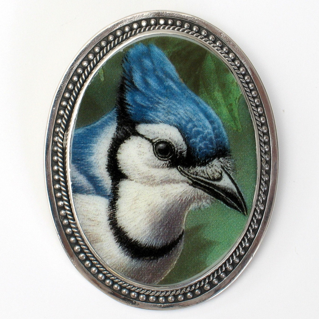 Broken-China-Jewelry-Carolina-Blue-Jay-Bluejay-Sterling-Silver-Pendant